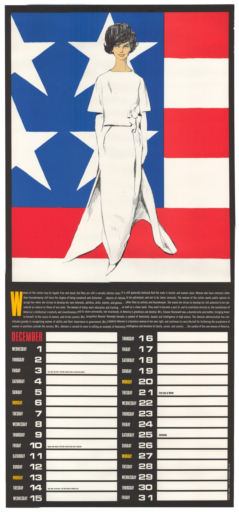 December 1965 Perennial Woman Calendar - Print by Betty Brader