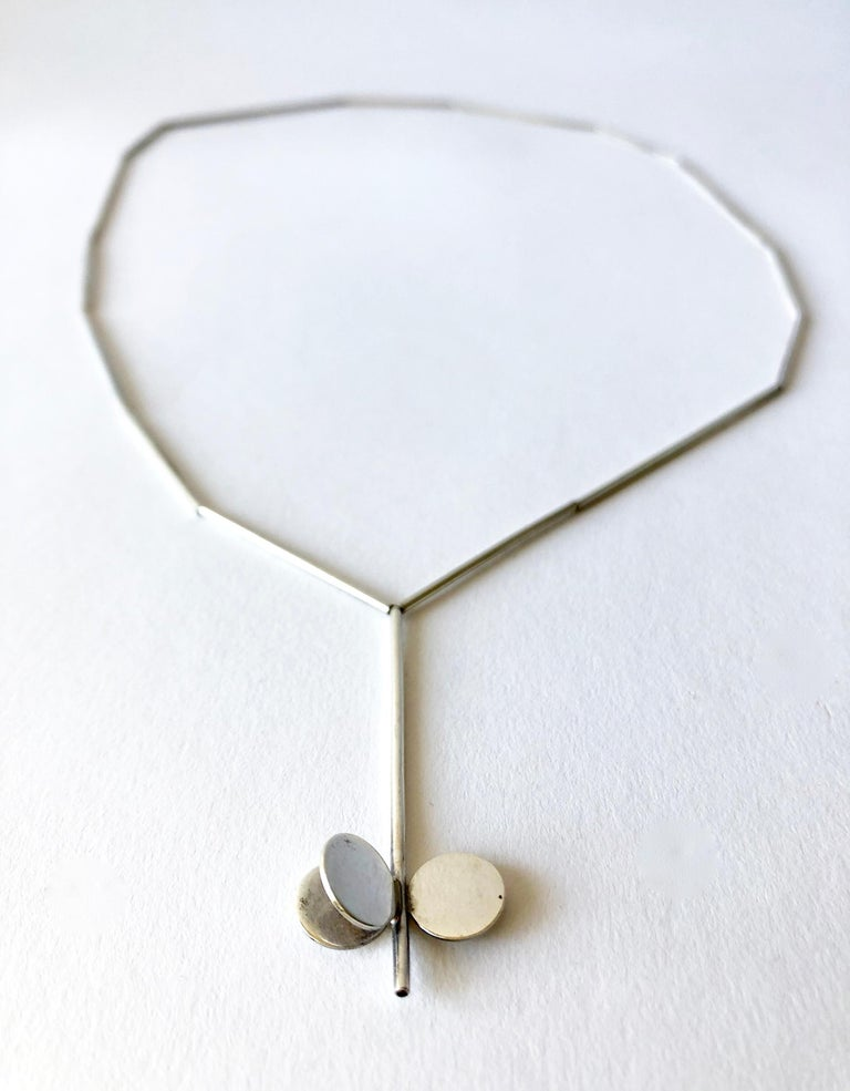Women's Betty Cooke American Modernist Sterling Silver Tube Necklace For Sale