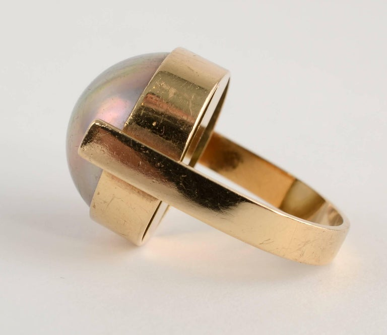 Modernist Betty Cooke Mabe Pearl Gold Ring For Sale