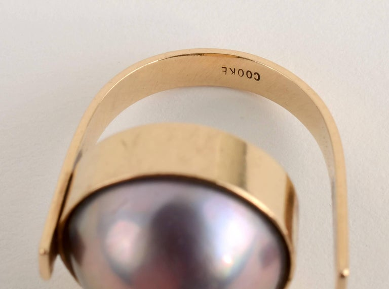 Women's or Men's Betty Cooke Mabe Pearl Gold Ring For Sale