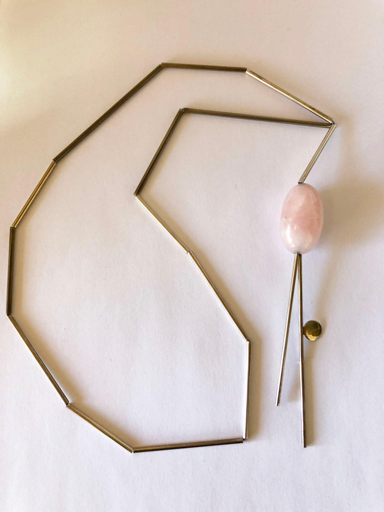 Bead Betty Cooke Sterling Silver Tube with Pink Quartz American Modernist Necklace For Sale