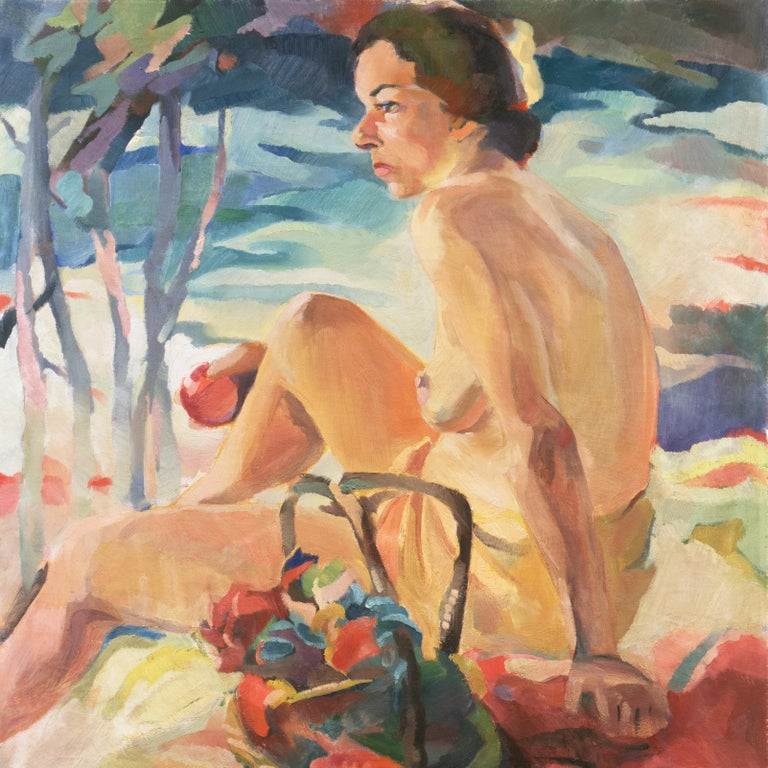 Post Impressionist Figural Oil 'Nude Seated by a River, PAFA, Woman Artist For Sale 2
