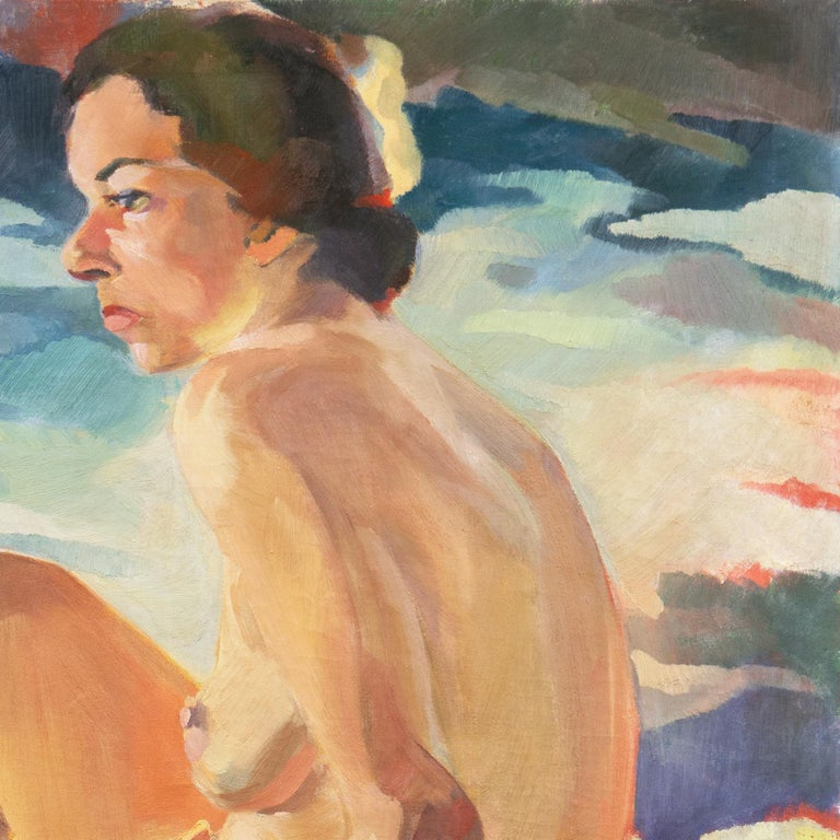 Post Impressionist Figural Oil 'Nude Seated by a River, PAFA, Woman Artist For Sale 3