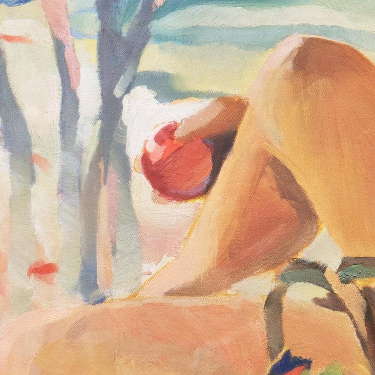 Post Impressionist Figural Oil 'Nude Seated by a River, PAFA, Woman Artist For Sale 4