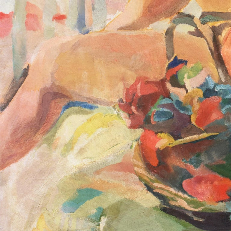 Post Impressionist Figural Oil 'Nude Seated by a River, PAFA, Woman Artist For Sale 5