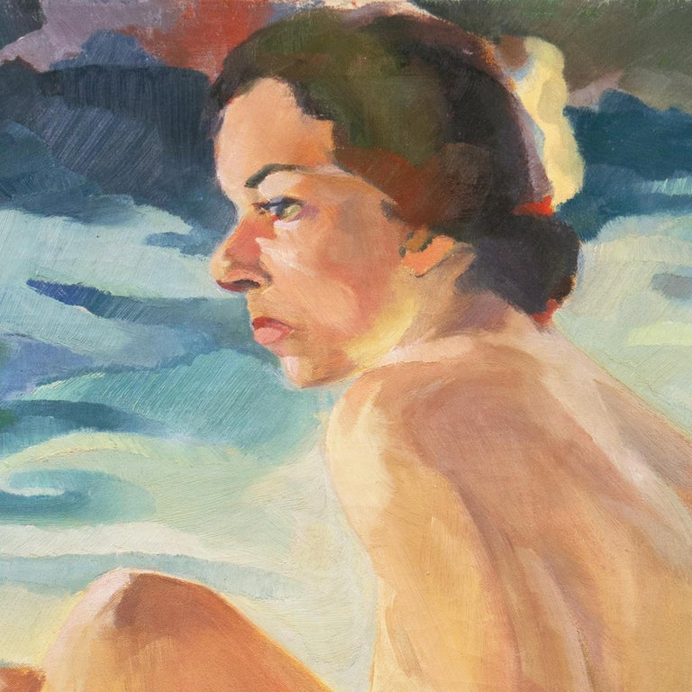 Post Impressionist Figural Oil 'Nude Seated by a River, PAFA, Woman Artist For Sale 8