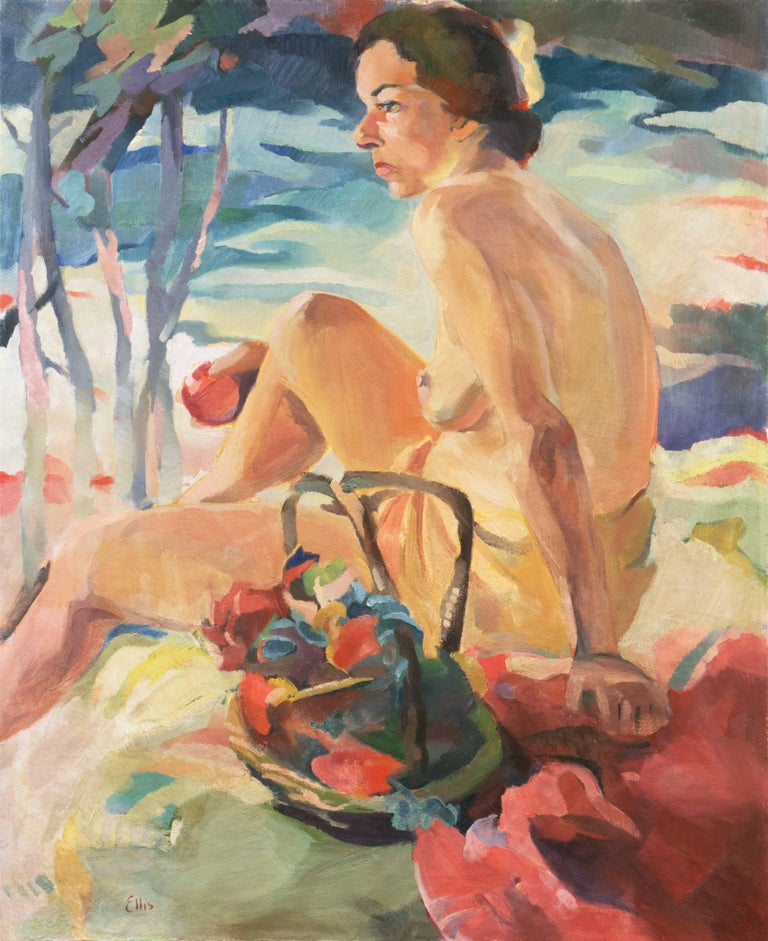 A large, Post-Impressionist figural oil of a young woman shown seated beside a river, partially clothed and holding an apple.  Signed lower left, 'Ellis' for Betty Corson Ellis (American, b. 1917) and painted circa 1936.  Betty Corson Ellis first