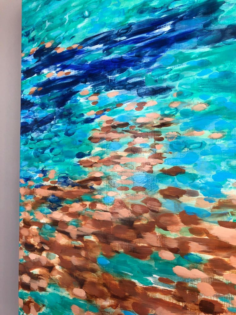 Lake Chelan No. 17 / oil on panel - 42 x 60 inches - Brown Abstract Painting by Betty Jo Costanzo