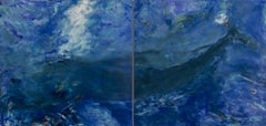 Living Oceans Maui No. 2 (diptych) - blue whale abstract painting