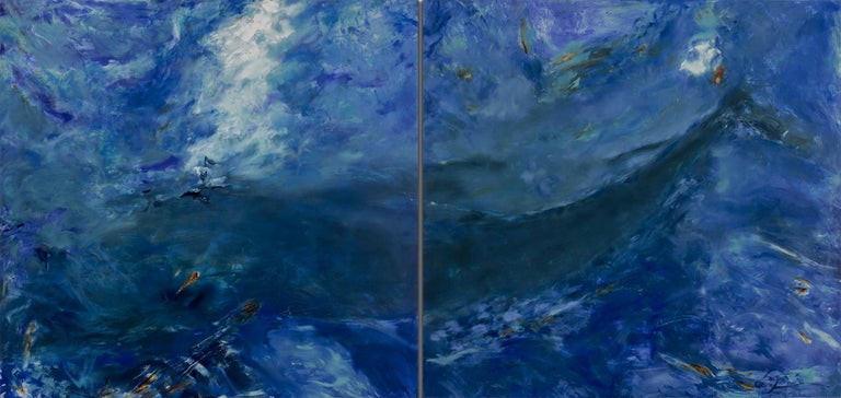 Betty Jo Costanzo Landscape Painting - Living Oceans Maui No. 2 (diptych) - blue whale abstract painting
