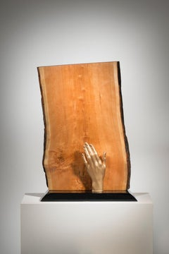Abstract Minimal Wood Sculpture with Hand: 'Safe Keeping'