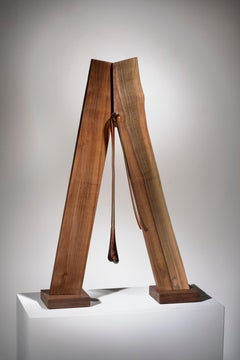 Minimal Abstract Wood Sculpture: 'Weighing the Consequences'
