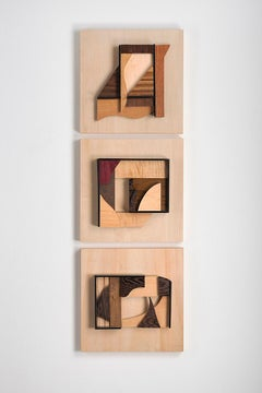 Abstract wood wall sculpture: 'Gathering #17/Gathering #16/Gathering #14'
