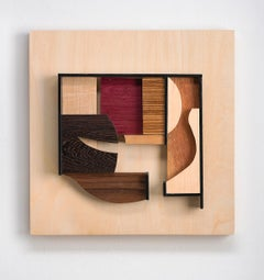 Abstract wood wall sculpture: 'Gathering #5'