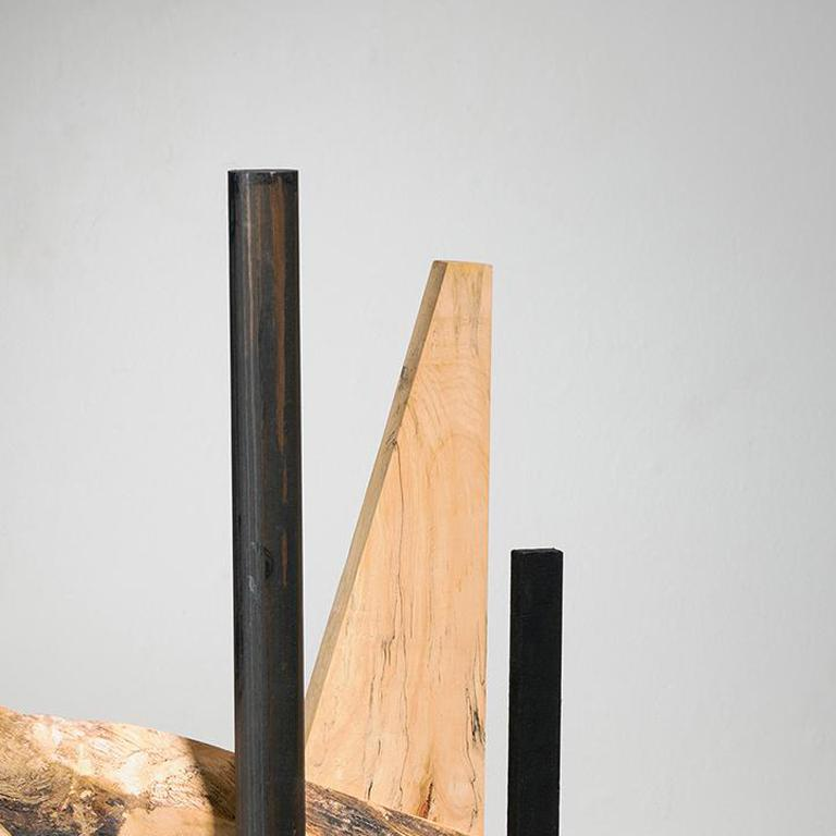 Minimal Abstract Wood Sculpture: 'Alternate Route' - Brown Abstract Sculpture by Betty McGeehan
