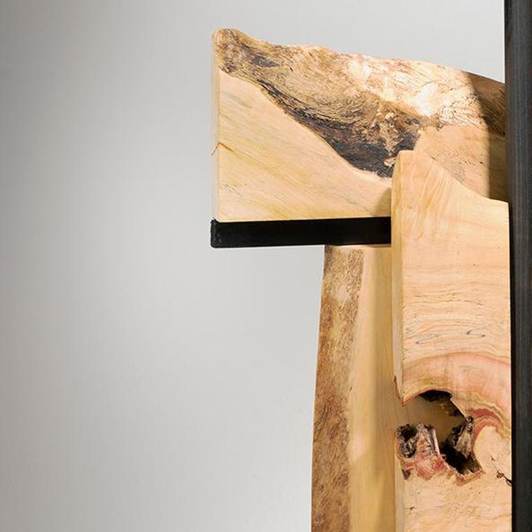 Minimal Abstract Wood Sculpture: 'Alternate Route' For Sale 1