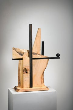 Minimal Abstract Wood Sculpture: 'Alternate Route'