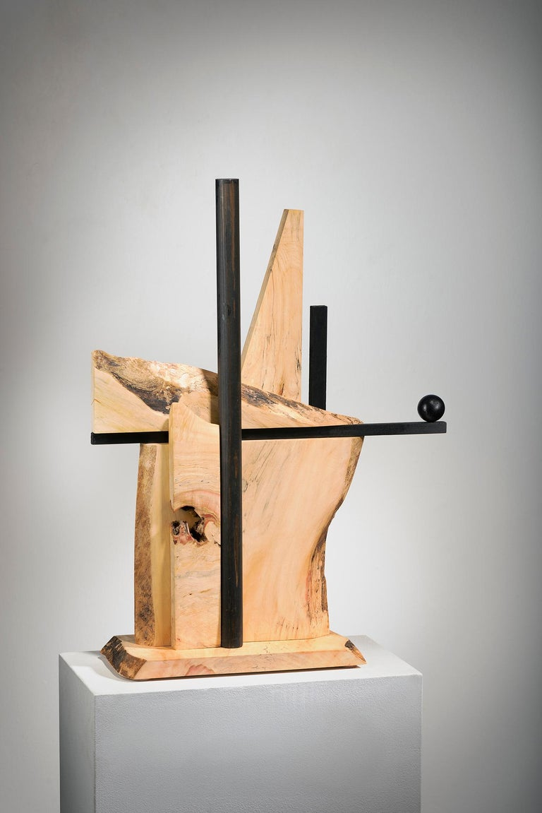 Betty McGeehan Abstract Sculpture - Minimal Abstract Wood Sculpture: 'Alternate Route'