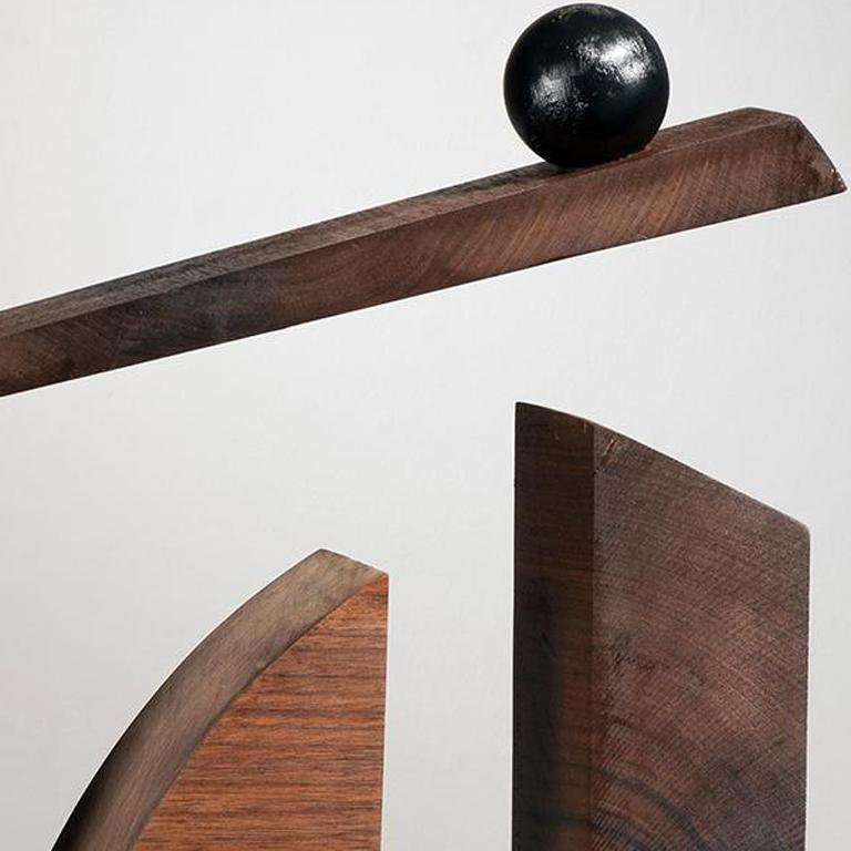 Minimal Abstract Wood Sculpture: 'Ballast of Belief' - Brown Abstract Sculpture by Betty McGeehan