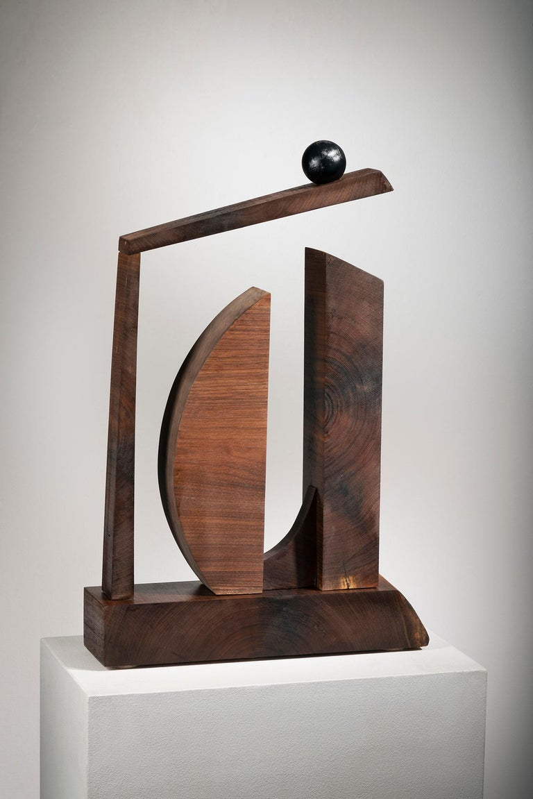 Betty McGeehan Abstract Sculpture - Minimal Abstract Wood Sculpture: 'Ballast of Belief'