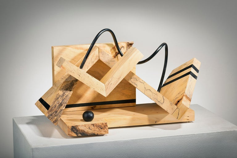 Betty McGeehan Abstract Sculpture - Minimal Abstract Wood Sculpture: 'The Art of Meditation'