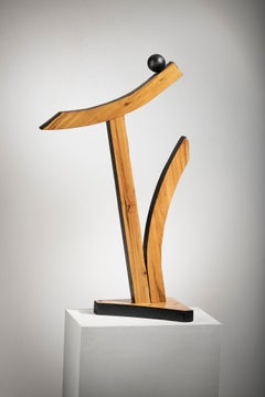 Minimal Abstract Wood Sculpture: 'The Launch'