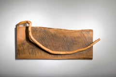 Minimal wood wall sculpture: 'Break A Leg'