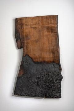 Minimal, Burnt Wood Abstract Sculpture: 'Sacrifice;