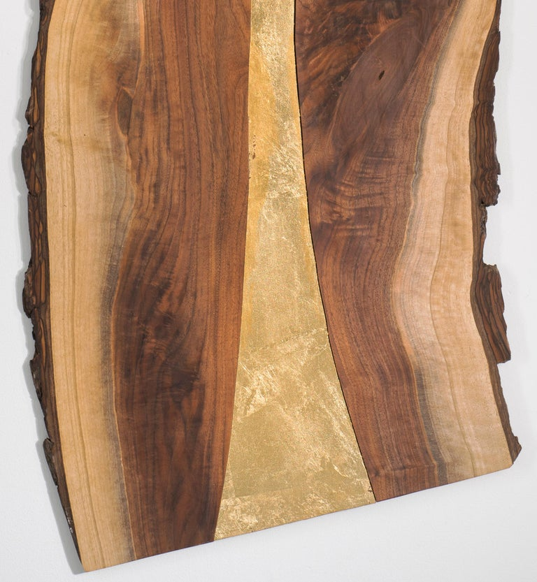 Wood sculpture: 'Gold Rush' - Brown Abstract Sculpture by Betty McGeehan