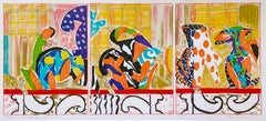 Ladies on the Balcony: abstract print of Japanese ceramic vases in architecture