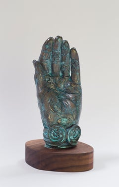 Betye Saar, A Handful of Stars, 2016. Bronze sculpture w/ patina and walnut base