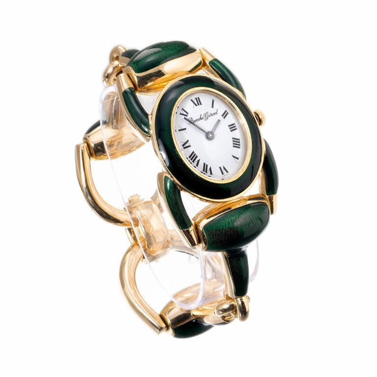 Bueche Girord Enamel Yellow Gold Equestrian Wristwatch In Excellent Condition For Sale In Stamford, CT