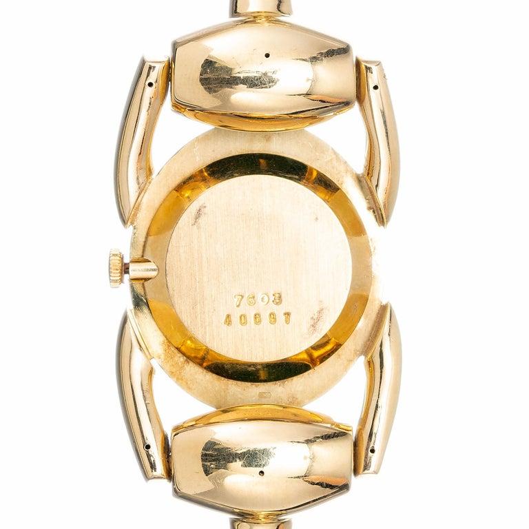 Bueche Girord Enamel Yellow Gold Equestrian Wristwatch For Sale 1