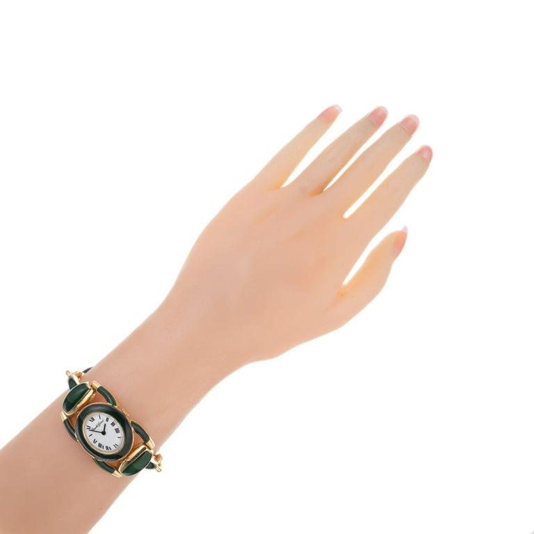 Bueche Girord Enamel Yellow Gold Equestrian Wristwatch For Sale 2