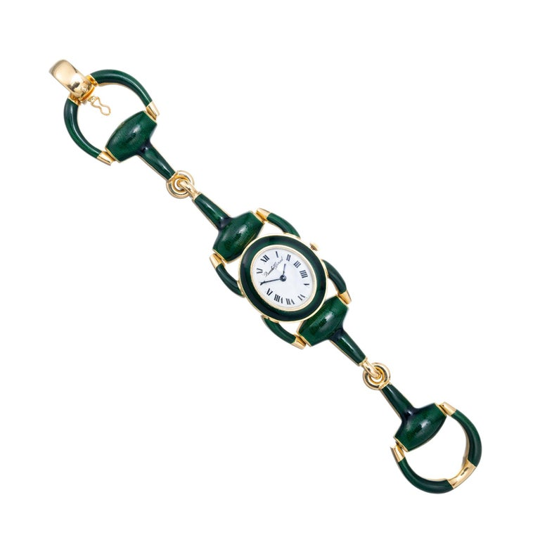 Bueche Girord Enamel Yellow Gold Equestrian Wristwatch For Sale 3