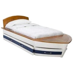 Beautiful Pottery Barn Boat Bed Trundle Storage Wood Deck Blue White