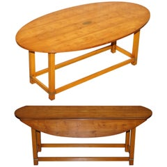 Bevan Funnell Burr Yew Wood Extending Oval Campaign Coffee Table