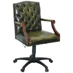 Bevan Funnell Directors Green Leather Chesterfield Captains Chair New Lift Base