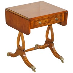 Bevan Funnell Extending Burr Yew Wood Side Table Matching Coffee Table Available
