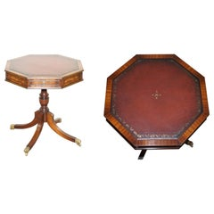 Bevan Funnell Oxblood Leather Mahogany Regency Drum Side Lamp Wine Table Drawers