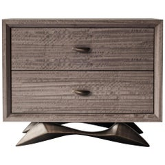Bevel Bedside Table by DeMuro Das with Solid Antique Bronze Base