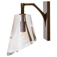 Bevel Handmade Wall Sconce in Amber Bronze Frame by Alison Berger Glassworks