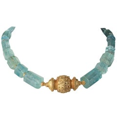 Beveled Aquamarine and 22 Karat Gold Beaded Necklace