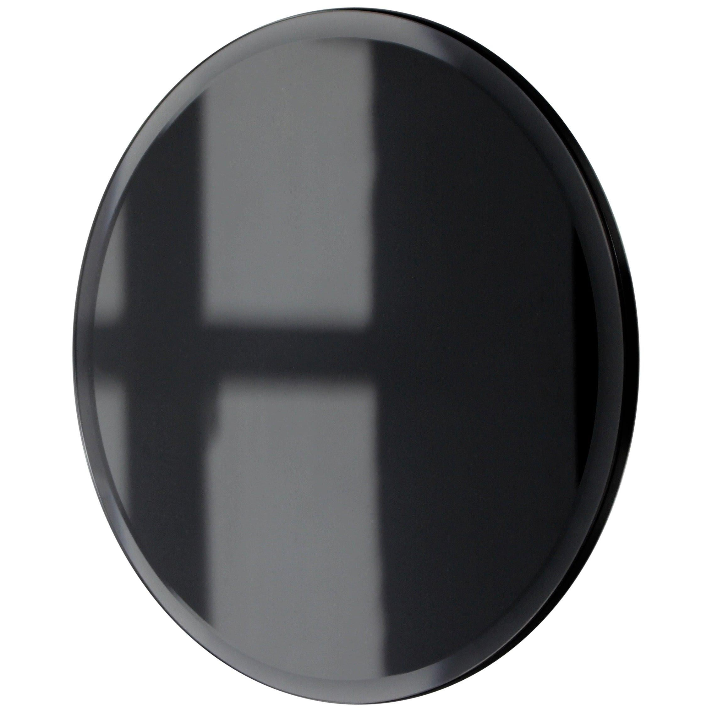 Orbis™ Bevelled Black Tinted Round Frameless Mirror Faux Leather Backing - Large