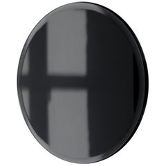 Orbis™ Beveled Black Tinted Round Frameless Mirror Faux Leather Backing - Large
