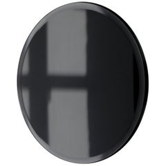 Orbis™ Beveled Black Tinted Round Frameless Mirror Faux Leather Backing - Small