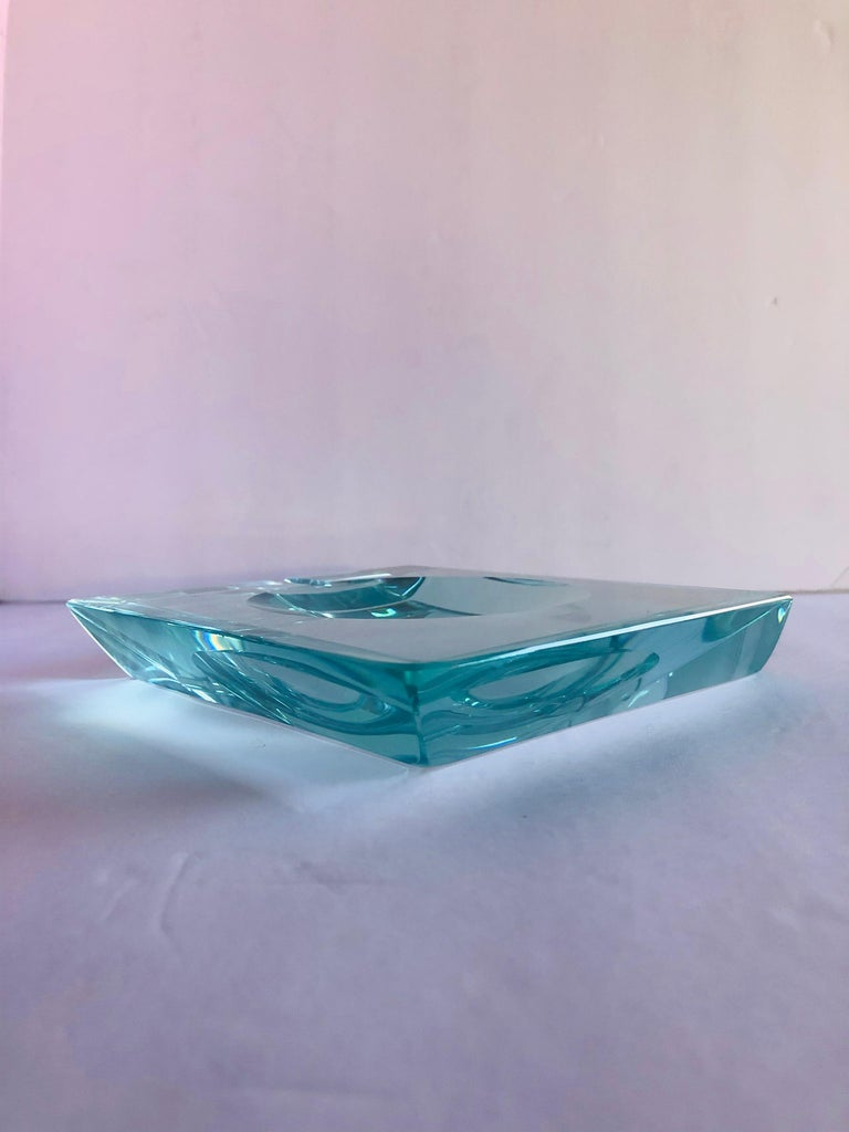 Italian Beveled Glass Ashtray by Fontana Arte For Sale