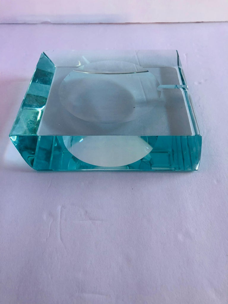 Beveled Glass Ashtray by Fontana Arte For Sale 1