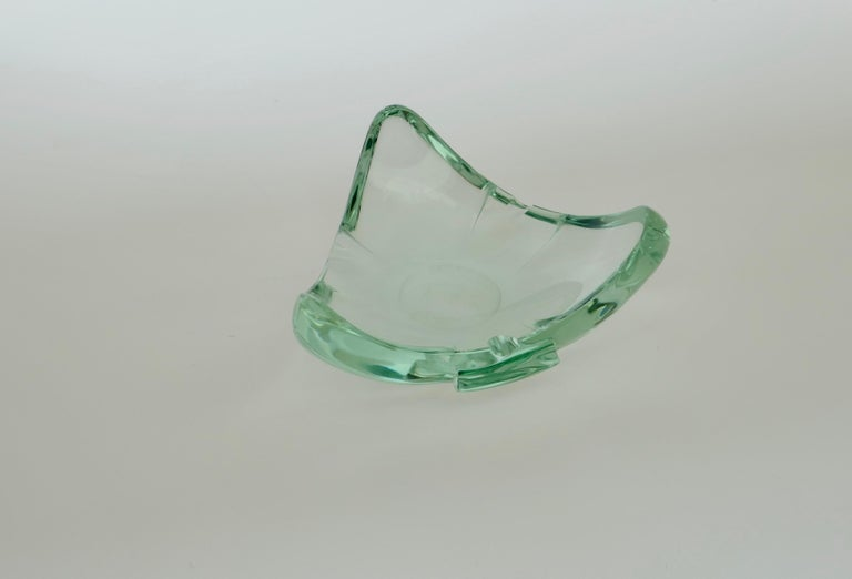 Beveled glass ashtray or vide poche, Italy 1960s attributed to Fontana Arte.