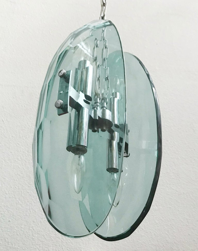 Beveled Glass Pendant In Good Condition For Sale In Palm Springs, CA